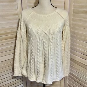 One Girl Who Sweaters - One Girl Who Ivory Cable Knit Swing Sweater L
